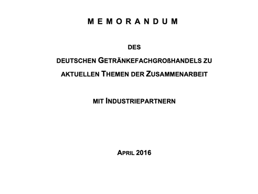 Memorandum 2016 – Wichtige Themen im Überblick