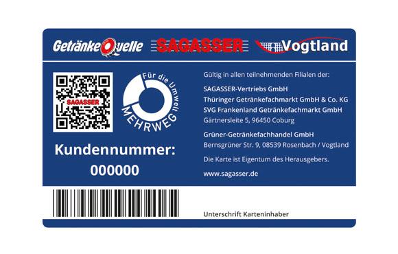 Sagasser übernimmt Mehrweg Logo auf Kundenkarte